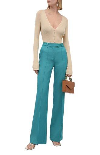Женские шерстяные брюки GIUSEPPE DI MORABITO бирюзового цвета, арт. PF21051PA-136 | Фото 1
