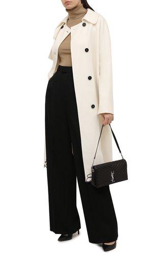 Женское шерстяное пальто ERMANNO FIRENZE кремвого цвета, арт. D39ET CP11VIN | Фото 1 (Материал внешний: Шерсть; Рукава: Длинные; Длина (верхняя одежда): До колена; Стили: Гламурный; 1-2-бортные: Двубортные)
