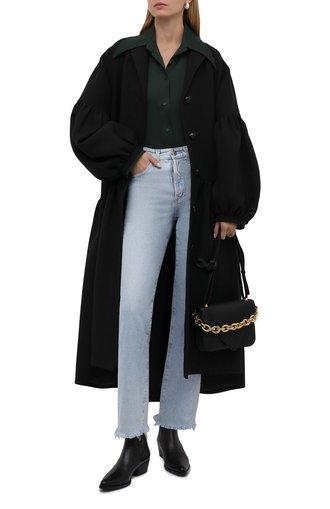 Женское пальто из шерсти и шелка TEGIN черного цвета, арт. FC2205   Фото 1 (Материал внешний: Шерсть, Шелк; Рукава: Длинные; Длина (верхняя одежда): Длинные; 1-2-бортные: Однобортные; Стили: Романтичный)
