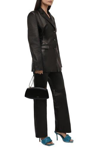 Женские кожаные мюли lido BOTTEGA VENETA синего цвета, арт. 608854/VBSS0 | Фото 1 (Материал внутренний: Натуральная кожа; Каблук тип: Шпилька; Каблук высота: Высокий)