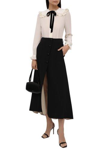 Женская шелковая юбка GIORGIO ARMANI черного цвета, арт. 1WHNN059/T02TI | Фото 1 (Материал внешний: Шелк; Длина Ж (юбки, платья, шорты): Макси; Женское Кросс-КТ: Юбка-одежда; Стили: Кэжуэл)