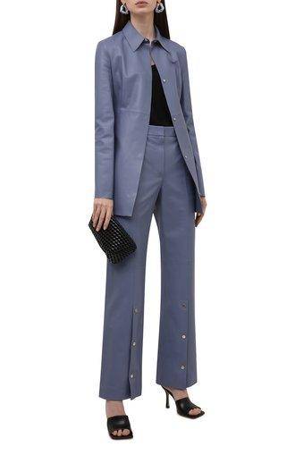 Женская кожаная рубашка OFF-WHITE голубого цвета, арт. 0WJE006F21LEA001 | Фото 1 (Рукава: Длинные; Длина (для топов): Удлиненные; Стили: Гламурный; Принт: Без принта; Женское Кросс-КТ: Рубашка-одежда)