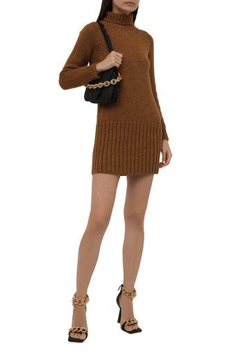 Женское шерстяное платье SAINT LAURENT коричневого цвета, арт. 669584/Y75BZ | Фото 1 (Рукава: Длинные; Длина Ж (юбки, платья, шорты): Мини; Материал внешний: Шерсть; Женское Кросс-КТ: Платье-одежда; Кросс-КТ: Трикотаж; Стили: Кэжуэл; Случай: Повседневный)